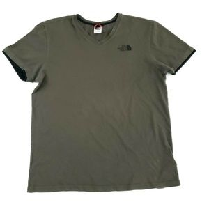 The North Face Army Green V-Neck 100% Cotton Tee